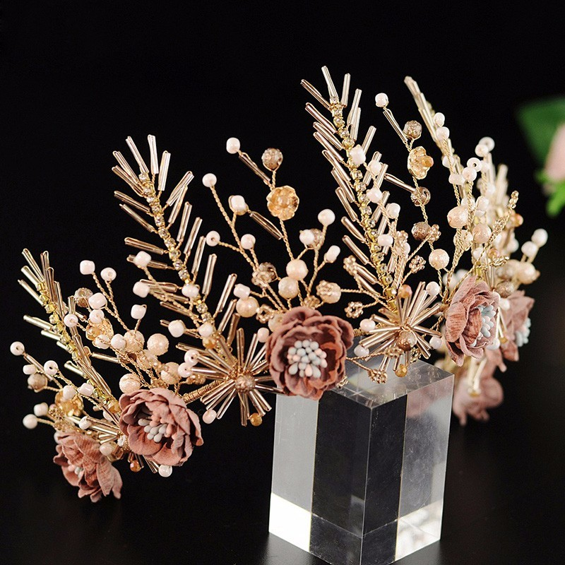 Excellent Flower Crown Vintage Wedding Tiara Gold Color Bridal Hair Accessories Pearl Hair Jewelry Headband Women Headpiece