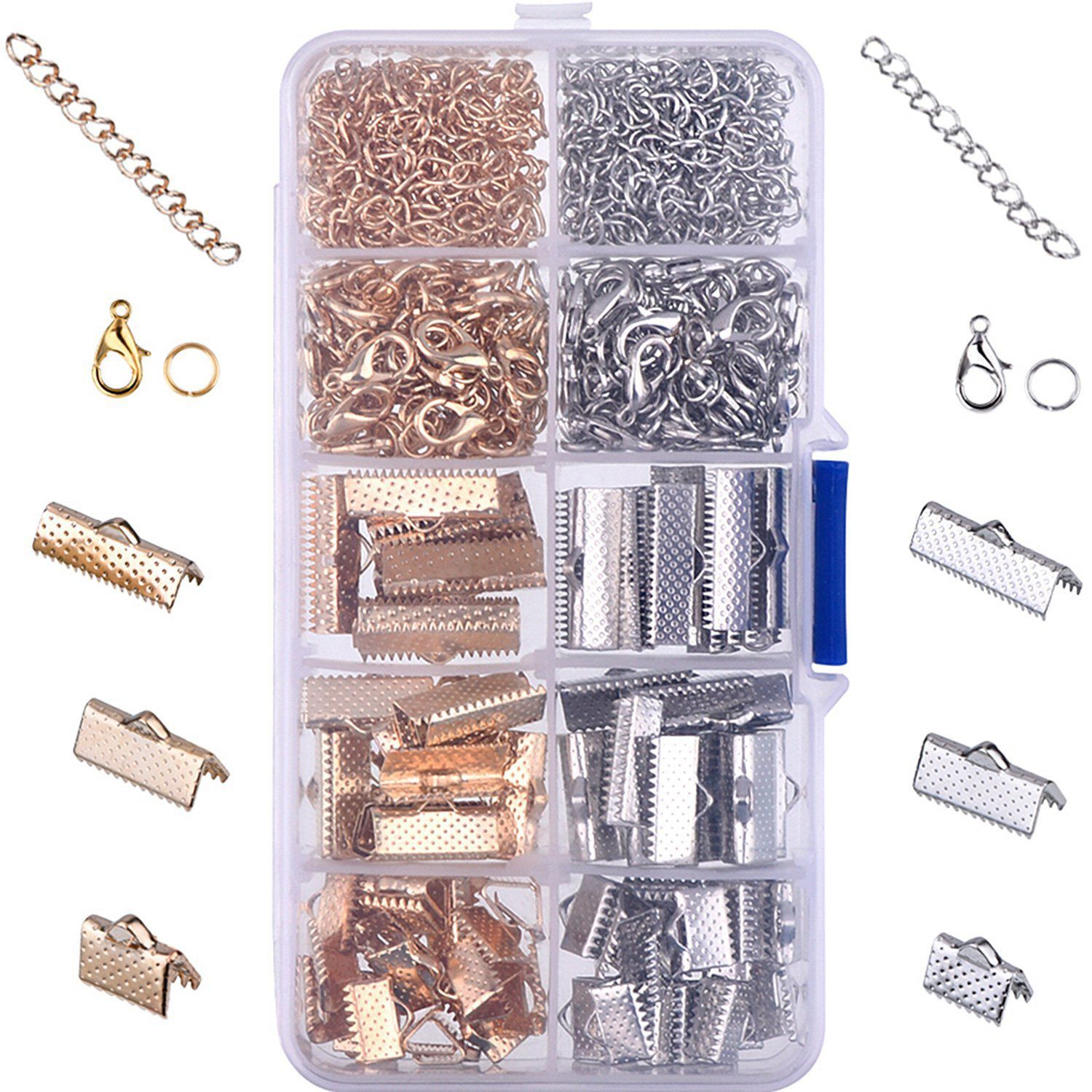 12mm Clasps /& Silver Glass Drop 6 sets Silver Plated Crimp Ends for 16mm Ribbon
