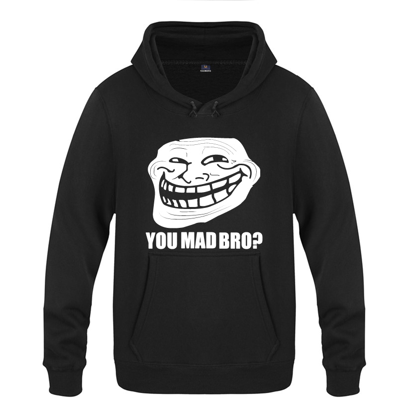 Troll Face Meme - You Mad Bro Gamer Web Geek Hoodies Men 2018 Men's Pullover Fleece Hooded Sweatshirts