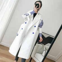 QLZW 2018 new fashion womne 옷 korean girl's Windbreaker 한국어 두 Paper Sleeve Joint Stripe Chic Loose Coat WC00200L(China)