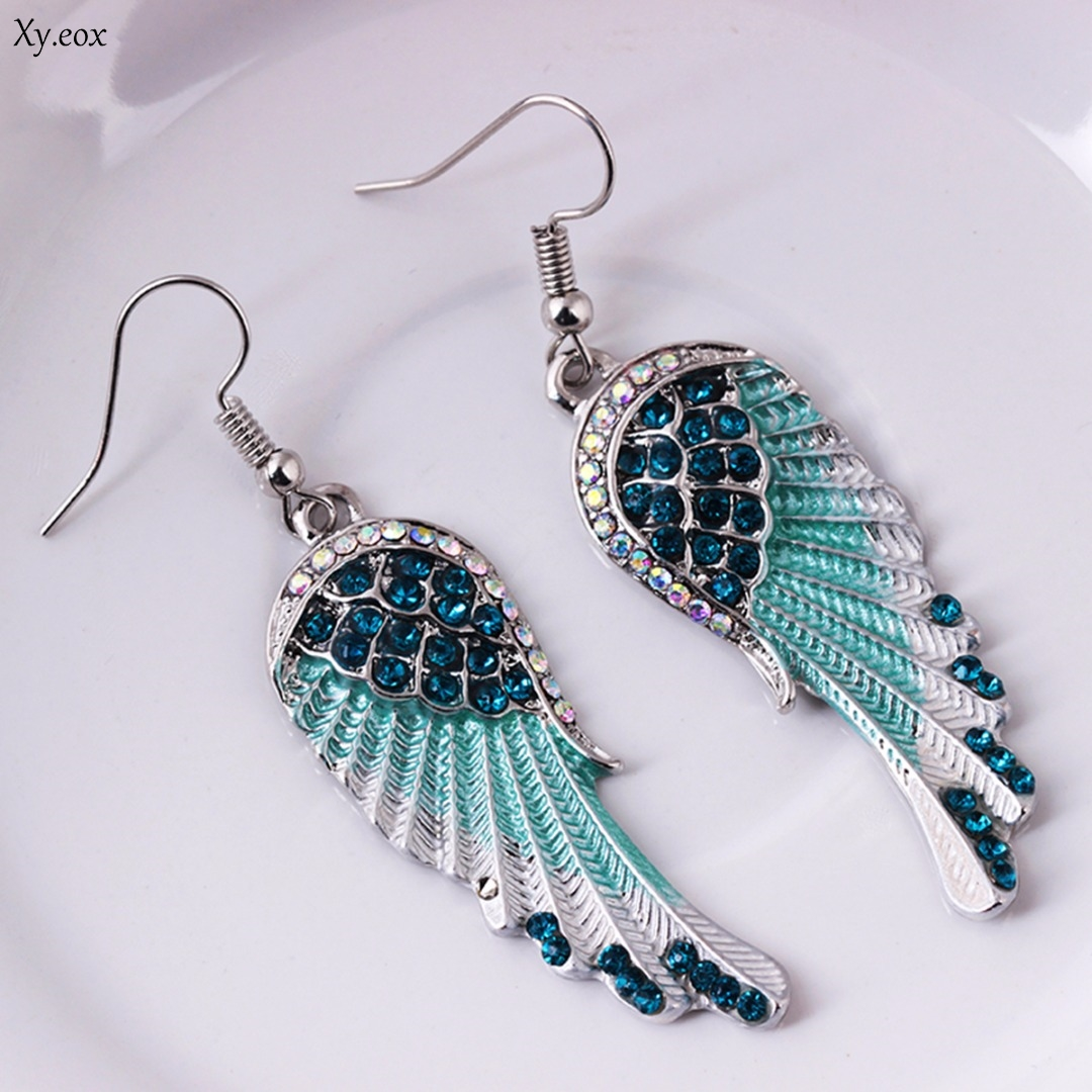 3 Colors Angel Wings Feather Dangle Crystal Earring Antique Elegant Women Jewelry title=