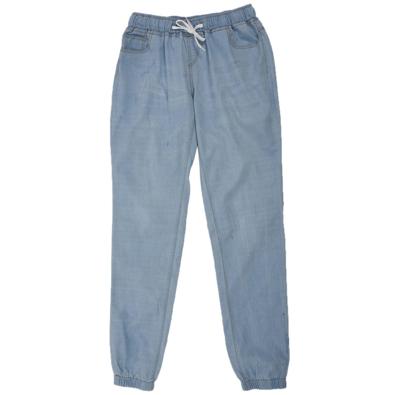 US Women/'s Casual Denim Jogger Pants Ladies Drawstring Elastic Waist Jeans Solid