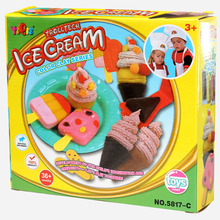 Kids Playdough Ice Cream Children Educational Toys Ultralight Polymer Clay Moulds Kit Tools