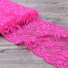 10yards 15cm Wide Hot Pink Tulle Lace Ribbon Trim Headband For Women Elastic Lace Stretch for Baby Girls Hair Accessories(China)