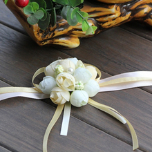 Wrist Flower Rose Silk Ribbon Bride Corsage Hand Flower Decorative Wristband Bracelet Bridesmaid Curtain Band Clip Bouquet