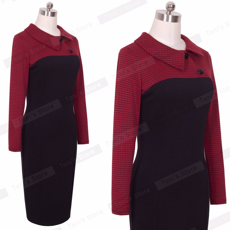 Nice-forever Elegant Vintage Fitted winter dress full Sleeve Patchwork Turn-down Collar Button Business Sheath Pencil Dress b238 29