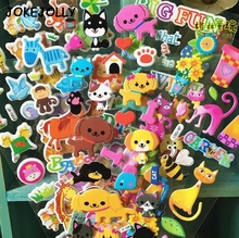 5pcs/lot Animals zoo Bubble Stickers 3D Cartoon Dog cat Classic Toys Scrapbook For Kids  Gift Reward Sticker GYH