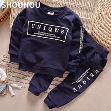 SHOUHOU 2017 Children Spring Autumn Set Long Sleeve Letter 2pcs Set Boys Girls Clothing Set Kids Clothing Suit Free Shipping