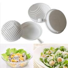 2017 Hot Sale White Salad Bowl In 60 Second Maker Healthy Fresh Salads Made Easy Salad Cutter PVC Bowl Tools EJ886737