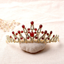 Baroque Red Stone Crowns Gold Wedding Tiara Bridal Hair Accessories Alloy headband Women Hairband Headpiece Pricess Tiara