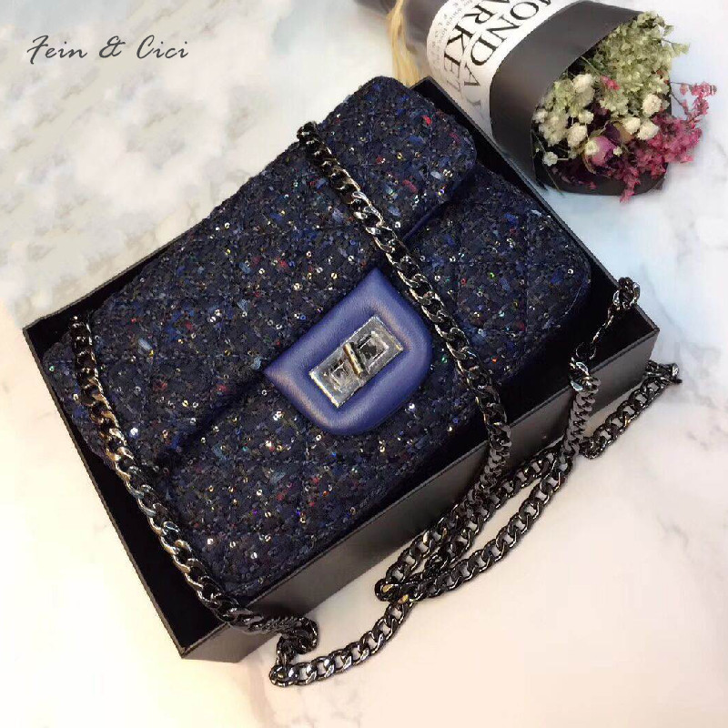 tweed chains bag with sheepskin leather small messenger bag women knitting sequins beading party handbag luxury brand bags <br>
