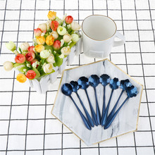 1pcs Stainless Steel Flower Shape Tea Coffee Spoons Blue Cherry Blossom Spoon Ice Cream Spoon Flatware Kitchen supplies(China)