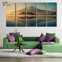 5 Panel Wall Art Japanese Painting Landscape Fuji Mountain And Peace Lake Decorative Modern Paintings For Drawing Room No Frame