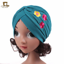 New Girls Flower Embroidery Beanie Ruffle Headbands Baby Children Cute Turban Hat Boho Headwrap Twist Knot Hairbands(China)