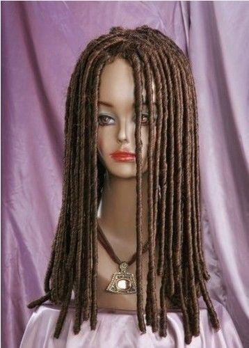 S1624 womens brown long straight cosplay full braid wig +gift hairnet (B)<br><br>Aliexpress