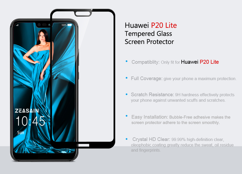 Original ZEASAIN Full Cover Tempered Glass for Huawei P20 Lite P20Lite Huaweip20 Lite Screen Protector 9H 2.5D Safety Glass Film (5)