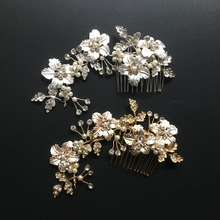 Buy Gorgeous Handmade Flower Leaf Rhinestones Pearls Wedding Hair Comb Bridal Headpieces Crystal Hair Accessories Bridesmaids Women for $7.99 in AliExpress store