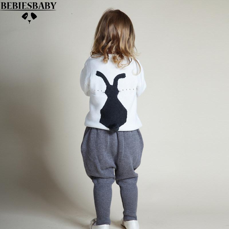 2016 Autumn Baby Girl Clothes 2pcs Sets Boys Girls Kids Knitted Sweater Baby Kids Clothes 3 Colors fit 1-5Y Christmas Sweater  <br>