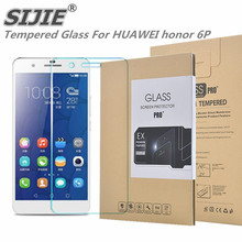 SIJIE Tempered Glass For HUAWEI honor 6P 0.26mm Screen Protector front stronger 9H thin discount Retail Package Hard BOX save