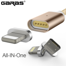 GARAS Magnetic Cable Lightning Micro USB Fast Charger Adapter Wire For Iphone/Android USB Micro Mobile Phone Cables For Samsung(China)