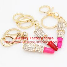 110pcs/lot Cool Crystal Makeup Lipstick Keyring Rhinestone Purse Bag Charm Pendant Keychain Gift exclusive bus keychain