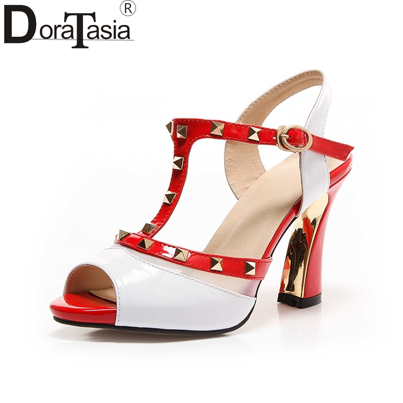 DoraTasia 2018 Summer Brand Genuine Leather Rivet Sandals Peep Toe High Heels Shoes Woman Size 34-39<br>