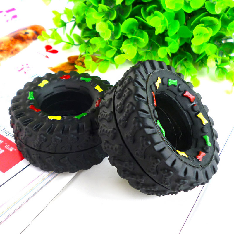 PC Animal Sounds Tire Shape Pet Products Toy Puppy Cat Chews Tire Noise Nontoxic Gum Teeth Bite Resistant Teddy Bones(China)