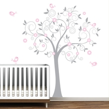 "Free Shipping pink flower tree with birds, Big size 137 x180 cm(71""x54"") wall stickers for kids room tree Vinyl Wall Decal decor(China)"
