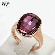 Top Quality Gold Nobleness Red Crystal Ring Rose Gold Color Austrian Crystals Full Sizes Wholesale R123 R124