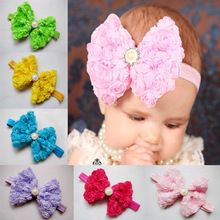 2014 baby Hair accessories newborn toddler girls children fabric flowers boutique hair bow elastic rhinestone handbands Retail(China)