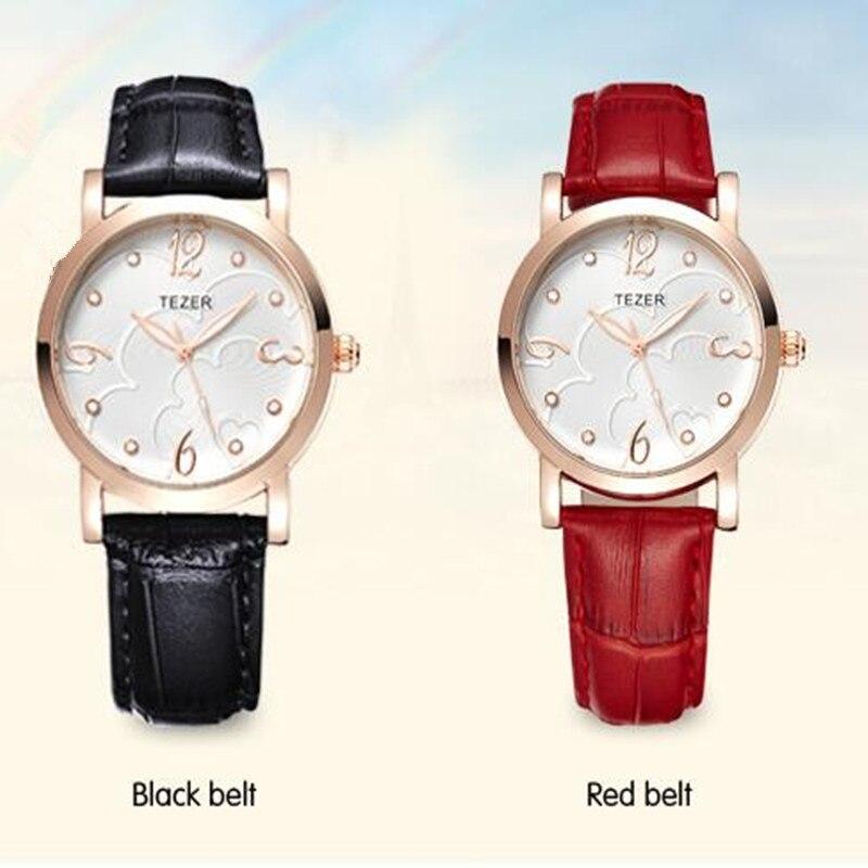 TEZER Women Fashion Casual Leather Quartz Watches Reloj Mujer Brand Luxury Watch Women Dress Wristwatches Relogio Feminino C81<br><br>Aliexpress