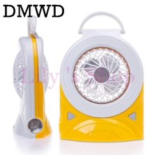 DMWD 6-inch rechargeable fan flashlight portable desktop mini air conditioner cooling fans lamp mute student dormitory cooler EU