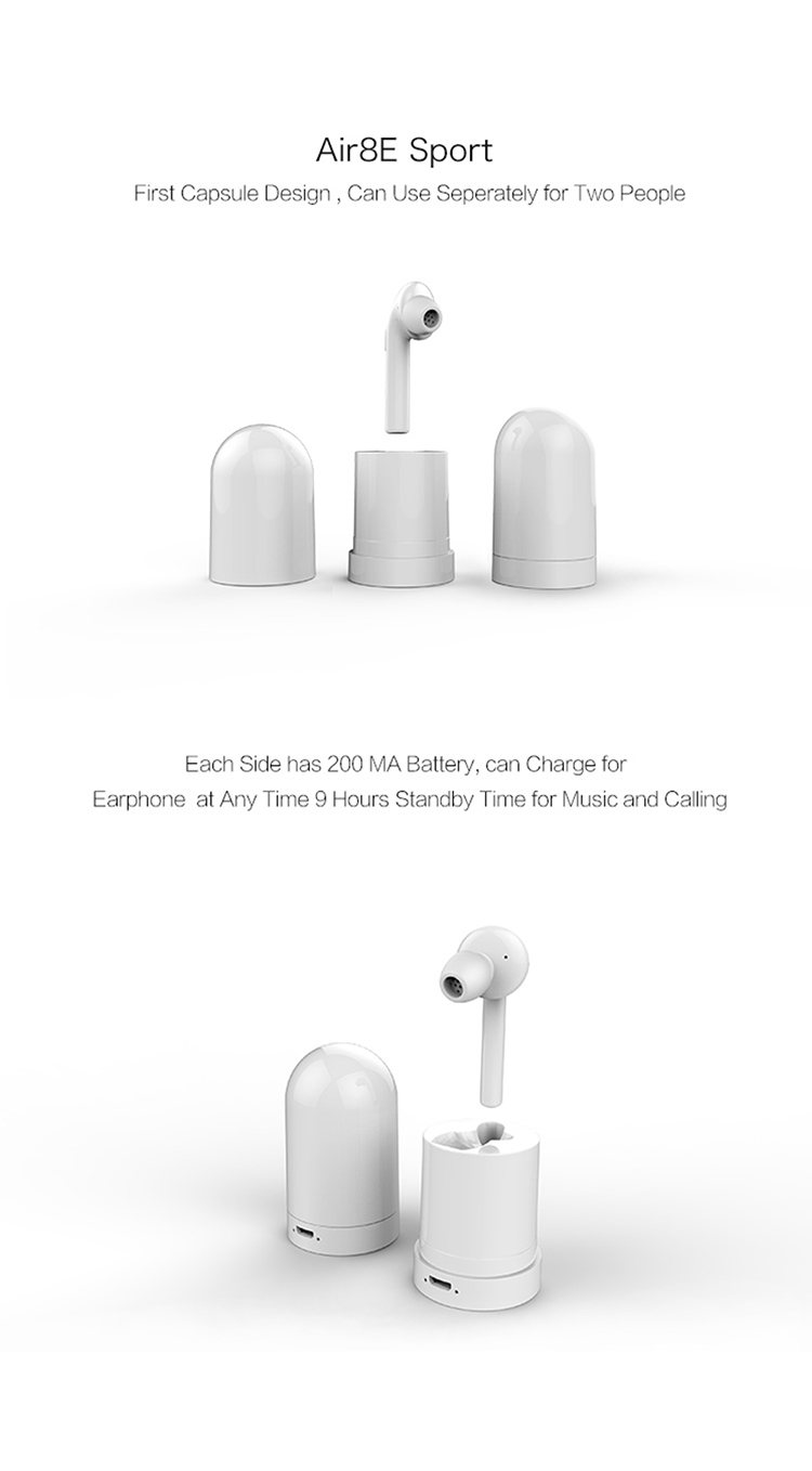 True Wireless Earbuds, AOWO 2 in 1 Capsule Design Bluetooth Noise Cancelling Sports Sweatproof Earphones with Mic Charging Case