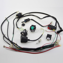 Full Kick Electric Start Engine Wiring Harness Loom Coil C7HSA SPARK PLUG 50 70 90 110 125cc Quad Pit Dirt Bike ATV Dune Buggy