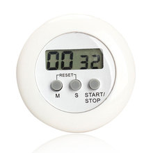Round Magnetic LCD Digital Kitchen Countdown Timer Alarm with Stand White Kitchen Timer Practical Cooking Timer Alarm Clock(China)