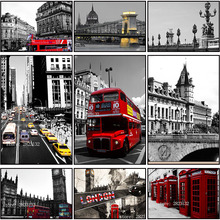 DIY Modern London Street Landscape Diamond Embroidery Painting Scenic Bus Mosaic Stitch Diamond Picture Full Drill Round Diamond