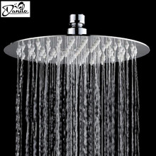 Modern Stainless Steel 8 Inch Head Shower Wall Mounted Ultrathin Round Chrome Finish Bathroom Shower Head(China)