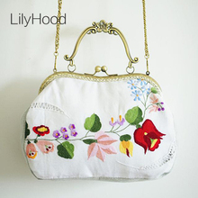 LilyHood Handmade Flower Embroidered Kiss Lock Bag Shabby Chic Vintage Retro Elegant Rustic Victorian Cottage White Handbag Etsy(China)