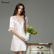 Women Sexy Lingerie Nightgowns Satin Nightdress Lace Night Dress Women Babydoll Dress Underwear Nightie Sleepwear Dresses(China)