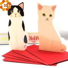 5PCS Mini Cat Folding Greeting Card&Thank You Card Birthday Christmas Cards Envelope Writing Paper Stationery For Gifts