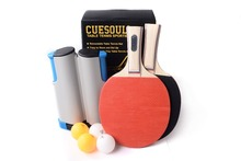 Cuesoul Retractable Anywhere Table Tennis Set with 2 Paddles and 4 Balls
