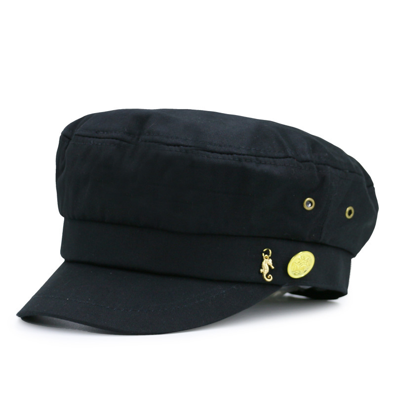 Adult casual flat army hats women and men peaked baseball caps student navy hats(China)