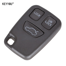 KEYYOU 3 BUTTONS Remote FOB Car Key Shell Uncut Blade Key Case Replacement Auto Key Cover For VOLVO S70 V70 C70 S40 V40 98-05