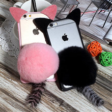 For Samsung A3 A5 A7 J3 J5 J7 2016 2017 Prime A8 A9 Cute Cartoon Cat ear Tail Phone case Plush Fur Ball Soft Back Cover(China)