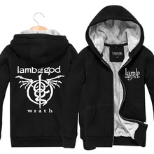 Lamb Of God Rock Band Winter Outerwear Cardigan Thickening Plus Velvet Jacket  Men Hoodies And Sweatshirts Fashion 2017