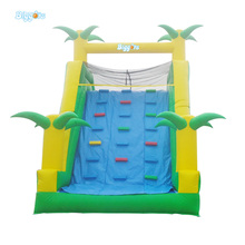 Palm Tree Safety Climbing Stair Inflatable Slide With Pool Inflatable Water Slide For Kids And Adults