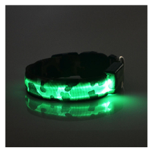 Durable Green Pets Dog LED Leopard Night Safety Collar Adjustable