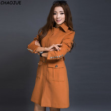 CHAOJUE Female woolen outerwear 2016 spring and autumn fashion elegant slim plus size cashmere camel jacket for women gift