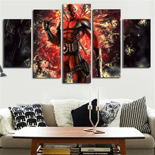 2016 Canvas Pictures Modular Modern Paintings Deadpool Comic Posters Group Painting Wall Art Room Decoration For Living Room