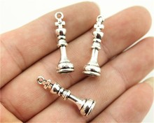 WYSIWYG 6pcs 27*8mm 2 Colors Antique Silver, Antique Bronze Plated Chess King Charms